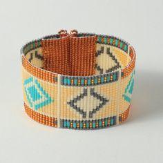 African Basket Weaving Bead Loom Bracelet by PuebloAndCo on Etsy Bead Loom Patterns, Peyote Patterns, Bracelet Patterns, Beading Patterns, Beading Ideas, Stitch Patterns, Bead Loom Bracelets, Woven Bracelets, Chevron Friendship Bracelets