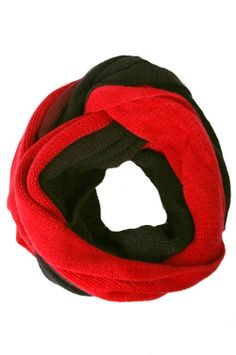 Winter Scarf - Two Tone Loop Scarf (Red)