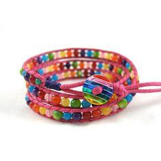 Rainbow Bracelet, Colorful Bracelet, Multi Color Bracelet, Vegan Wrap... ❤ liked on Polyvore featuring jewelry, bracelets, tri color bangles, cord jewelry, string jewelry, colorful jewelry and multi color jewelry