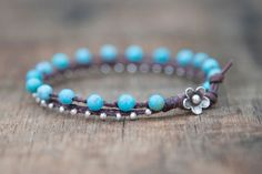 Turquoise and Silver Waxed Linen Beaded by CiCiDesignsJewelry, $34.00