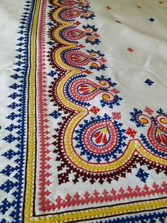 Hand Embroidery Dress, Hand Embroidery Videos, Hand Embroidery Tutorial, Embroidery Works, Hand Embroidery Stitches, Diy Embroidery, Border Embroidery Designs, Wool Applique Patterns, Kurti Embroidery Design