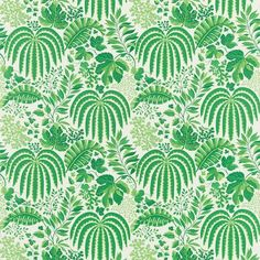 """Rainforest"" fabric in ""Emerald"" by Sanderson"
