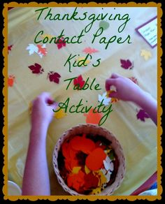 Thanksgiving Craft: Contact Paper Kids Table #Thanksgiving
