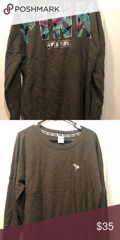PINK sweatshirt PINK olive green sweatshirt......BRAND NEW & never worn! PINK Victoria's Secret Tops Sweatshirts & Hoodies