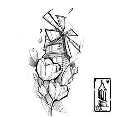 Резултат с изображение за windmill tattoo graphic