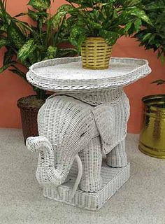 Wicker Elephant Table Eclectic Side Tables And Accent Tables