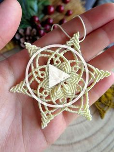 Macrame Snowflake Ornament for Christmas Tree woven cream Diy Christmas Videos, Diy Christmas Gifts, Christmas Tree, Etsy Christmas, Snowflake Ornaments, Snowflakes, Winter Home Decor, Yarn Tail, Knitting Videos