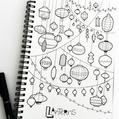 page full of lanterns.  #doodle #planner #plannercommunity #plannergirl…