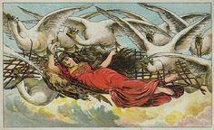 The Wild Swans -- Vintage Trading Card -- 1880s -- Fairytale Illustration