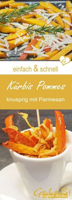 Pumpkin fries with parmesan - simple and quick recipe - simple and quick: recipe for pumpkin fries – baked sticks from Hokkaido with parmesan - Easy Meals For Kids, Quick Easy Meals, Kids Meals, Healthy Chicken Recipes, Quick Recipes, Easy Dinner Recipes, Parmesan, Quick Snacks, Healthy Snacks
