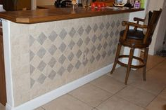 Finally got around to putting tile up in the kitchen. Also did the wall under the bar since it always seemed scuffed with shoe marks. Navy Kitchen, Kitchen Tile, Kitchen Design, Bar Tile, Kitchen Island Bar, Wall Bar, Bar Areas, Wall Tiles, Home Projects