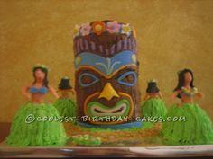 Coolest Hawaiian Luau Tiki Cake
