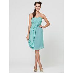 I love the flow and the flowers. Sheath/ Column Sweetheart Knee-length Chiffon Bridesmaid Dress – USD $ 99.99