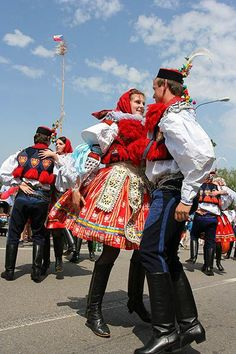 Male and female Moravian Slovak costumes