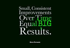 Small, Consistent Improvements Over Time Equal BIG Results! How To Get Rich, Consistency, Equality, Meant To Be, Motivational Quotes, Big, Social Equality, Inspirational Qoutes, Quotes Motivation