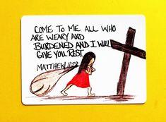 Items op Etsy die op Scripture Doodle Mini memory verse card of encouragement/Matthew Burdens to the cross/Bookmark/Bible Verse trading card lijken Scripture Crafts, Scripture Doodle, Scripture Verses, Bible Verses Quotes, Bible Scriptures, Bible Art, Wisdom Bible, Faith Verses, Healing Scriptures