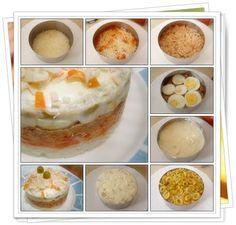 Pastel frío de arroz. Para verano o para aprovechar restos de arroz blanco.