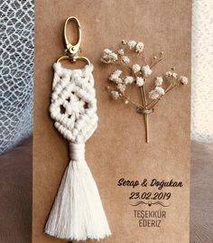 Items similar to Bohemian Vintage Cotton Macrame Keychain Wedding favor, Natural Babyshower Gift for Guests, Bridal Shower Favor - attached onto cardbo on Etsy - Hochzeitsgeschenk Honey Wedding Favors, Vintage Wedding Favors, Diy Wedding Gifts, Wedding Shower Favors, Wedding Gifts For Guests, Wedding Souvenir, Inexpensive Wedding Favors, Etsy, Crochet