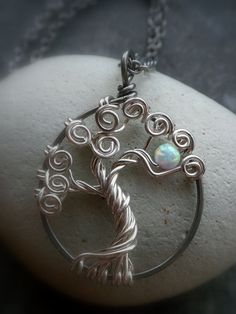 Tree of Life Jewelry Sterling silver and Opal of life Jewelry # opal - DIY Jewelry Crafts Ideen Wire Wrapped Jewelry, Metal Jewelry, Pendant Jewelry, Beaded Jewelry, Handmade Jewelry, Gold Jewellery, Jewlery, Pendant Necklace, Diy Schmuck