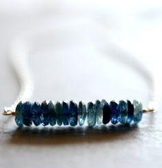 Deep blue, like the sea. Kyanite wheel necklace by Kahili Creations of Hawaii...