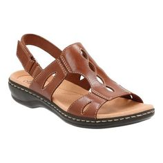 Complete any sensible, warm-weather outfit with the comfortable, stylish, and versatile Clarks Leisa Lakelyn Cutout Slingback. Adjustable hook-and-loop strap platform Clarks Collection. Tan Leather Sandals, Brown Sandals, Women's Shoes Sandals, Slingback Shoes, Dress Shoes, Wide Shoes, Flat Shoes, Warm Weather Outfits, Mens Slippers