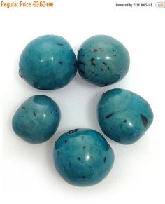 5 Bombona, türkis, 5 Stück, 22mm, mit Harz, glänzend, Samenperlen, natural beads, resin beads, seeds, rainforest seeds, tagua, acai beads