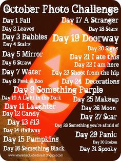 October Photo Challenge!!! So Excited!!