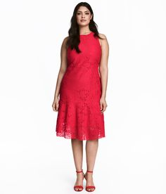 Check this out! Knee-length dress in lace. Narrow-cut at top, seam at waist, and straight-cut skirt with wide flounce at hem. Concealed zip at back. - Visit hm.com to see more.