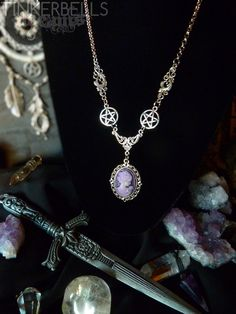 necklace wicca pagan celtic medieval victorian antique silver wiccan gift set pendant vintage boho bohemian hippie pentagram purple cameo