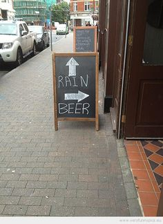 Funny Picture - Fun sign with rain and beer