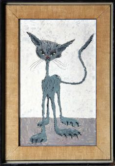 Artist: John Silavi  Title:	Cat  Year:	circa 1970  Medium:	Acrylic on Board, signed l.r.