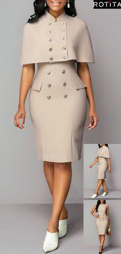 Cap Shoulder Button Detail Top and Back Slit Dress - Roupas da moda - Cap Dress, Slit Dress, Bodycon Dress, Panel Dress, Dresses Elegant, Sexy Dresses, Dresses For Work, Casual Dresses, Trendy Dresses