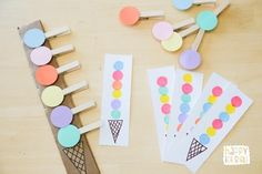 Ice Cream Activities For Preschoolers Children will love these cute ice cream theme learning activities! Learning counting, letters, fine motor skills and so much more. Preschool Learning Activities, Preschool At Home, Toddler Preschool, Toddler Activities, Preschool Activities, Kids Learning, Learning Shapes, Ice Cream Theme, Tot School