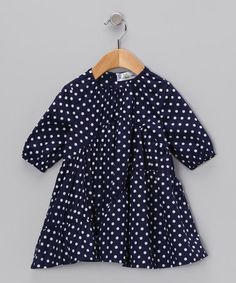Take a look at this Navy Polka Dot Swing Dress - Infant, Toddler & Girls by Right Bank Babies on #zulily today!