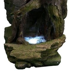 Outdoor Garden Fountain LED Lights Electric Rustic Cave Water Fixture Patio Yard