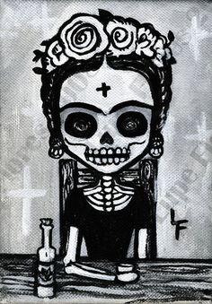 Fancy Frida Kahlo Drinking Tequila 5x7 art by ArtByLupeFlores, $6.99