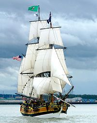 """The """"Lady Washington"""", a modern brig replica. Often used infront of cameras; she was featured, among others, in the movies Star Trek: Generations and the first Pirates of the Carribean entry as well as in the series Once upon a Time and Revolution. Moby Dick, Old Sailing Ships, Sailing Boat, Ship Names, Wooden Ship, Sail Away, Ship Art, Tall Ships, Water Crafts"""