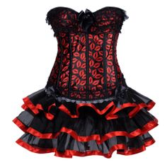 Free Shipping New  2013 Indero Brand   Sexy   Style Lace   Red Women's Waist Training  Corset Skirts  Plus Size $37.17