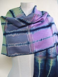 Silk scarf hand dyed indigo Japanese shibori upcycled by Flextiles