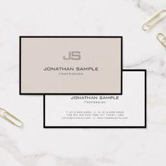 Modern Professional Creative Monogram Plain Business Card - chic design idea diy elegant beautiful stylish modern exclusive trendy