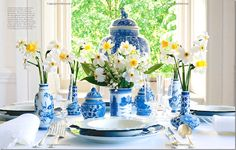 Carolyne Roehm loves blue and white and even wrote a book about the two colors.