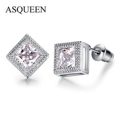 Princess Cut Hearts & Arrows CZ Stud Earrings For Women #cuffearrings #diamondearrings #fashion #studs #giftsforher #girls #love #trendsetter #trendy