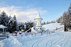 #Spielplatz mit #Rapunzelburg im #Winter am #Resort #Glocknerhof #bergimdrautal #Kärnten #Austria
