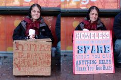 Typographic transformations of the homeless signs, via @VXLAB | space . identity . product blog