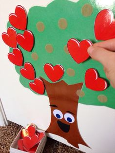 "Growing hearts of kindness - Reinforce kind behaviors by giving the child labeled praise and allowing him or her to put a heart on the tree. ""Katie, I saw you help your friend clean up and you didn't even make that mess. That was so kind of you! I think you made Gabe happy when you did that. Come put a heart on the tree so we can remember the kind thing you did today!"" Pointing out the feeling of the person receiving the act of kindness is really important to reinforce too."