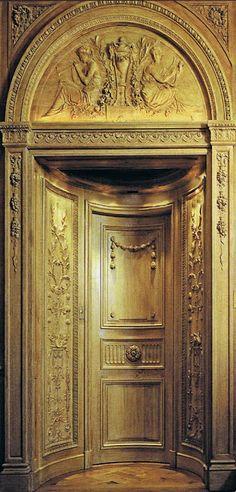 Feau & Cie gorgeous gleaming boiseries and antique wood paneling…World of interiors Dec 08 Grand Entrance, Entrance Doors, Doorway, Front Doors, Door Knockers, Door Knobs, Door Handles, Cool Doors, Unique Doors