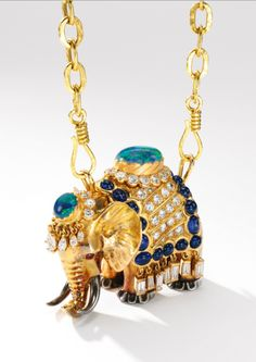 Opal, sapphire, ruby and diamond pendent necklace, 'Elephant', René Boivin, 1939