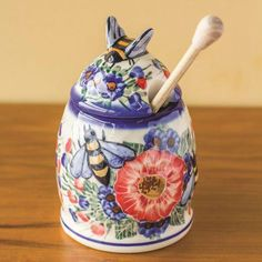 Polish Pottery Honey Pot with Dipper, : Fancy Flours Welcome To My House, Kits For Kids, Bee Happy, Save The Bees, Polish Pottery, Bees Knees, Queen Bees, Bee Keeping, Inspirational Gifts