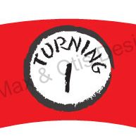 .Turning 1 printable cupcake wrapper to match Dr. Seuss Thing 1 themed birthday party