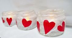 LOVE Red Hearts  3 Upcycled Glass Jar Tealight by BeansterGoods, $9.99